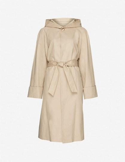 MAJE Hooded gabardine coat in camel - flipped