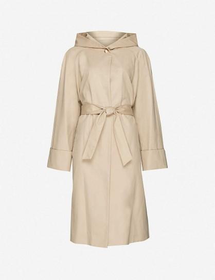 MAJE Hooded gabardine coat in camel