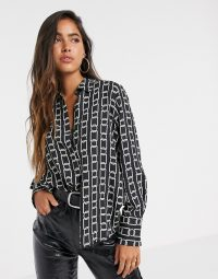Mango chain printed blouse in black – mono print blouses