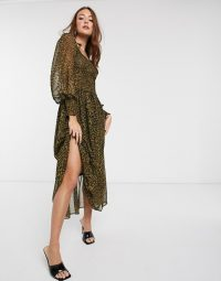 Mango brown tiered volume sleeve dress in leopard