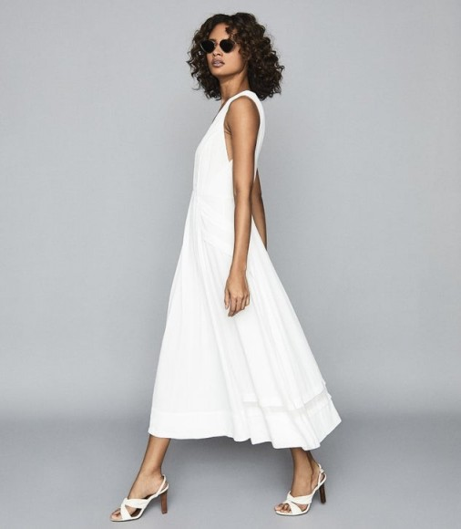 REISS MARCELLA SPLIT FRONT BEACH DRESS WHITE ~ feminine vacation wardrobe