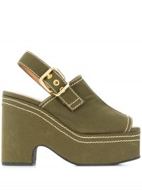 MARNI platform contrast stitch sandals in khaki-green ~ chunky peep toe slingbacks