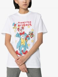 Martine Rose Clown Print Cotton T-Shirt in White / 'Promising Britain' slogan tee
