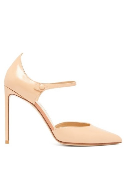 FRANCESCO RUSSO Mary-Jane pink-leather stiletto pumps
