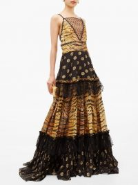 DUNDAS Mesh-insert zebra polka-dot fil-coupé tiered gown – mixed print luxury gowns