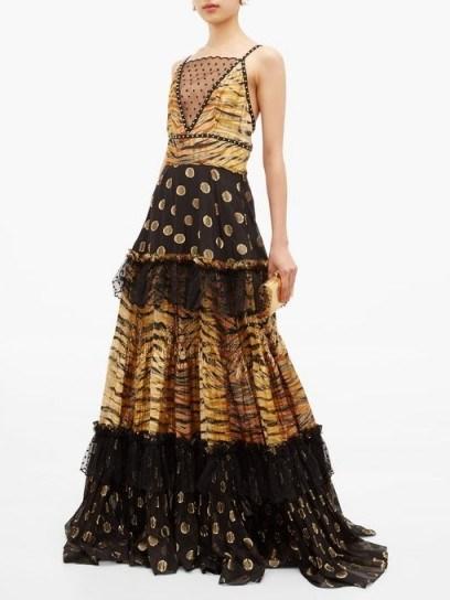DUNDAS Mesh-insert zebra polka-dot fil-coupé tiered gown – mixed print luxury gowns - flipped