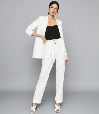Reiss MIA BELTED STRAIGHT LEG TROUSERS WHITE