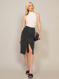 Reformation Midi Retooled Skirt in Seine | front split skirts