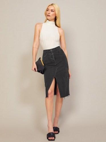 Reformation Midi Retooled Skirt in Seine | front split skirts - flipped