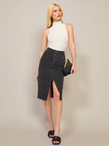 Reformation Midi Retooled Skirt in Seine | front split skirts