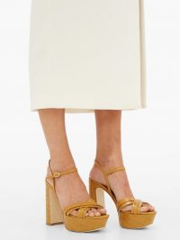 MALONE SOULIERS Mila crocodile-effect leather platform sandals in mustard-yellow