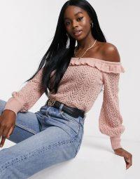 Miss Selfridge frill bardot jumper in pink – off the shoulder knitwear