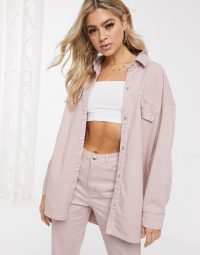 Missguided denim co-ord in pink – shacket and jeans set
