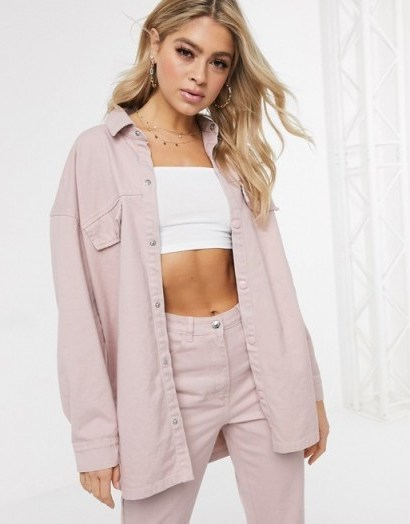 Missguided denim co-ord in pink – shacket and jeans set - flipped