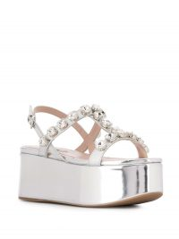 MIU MIU embellished silver-leather platform sandals