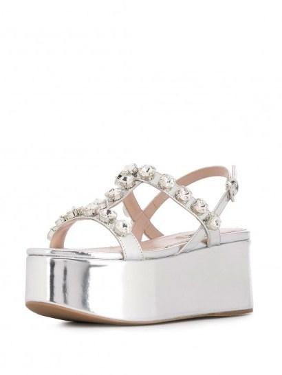 MIU MIU embellished silver-leather platform sandals - flipped