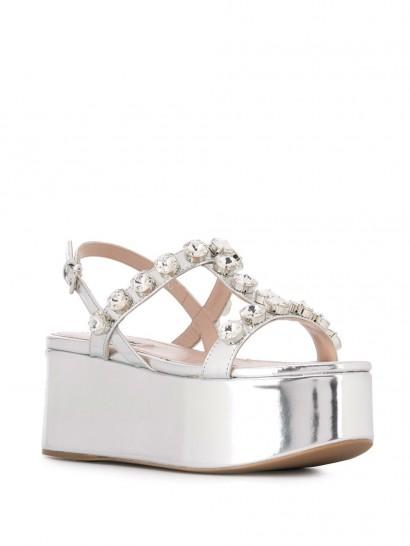 MIU MIU embellished silver-leather platform sandals