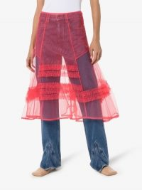 Molly Goddard Frilled A-Line Midi Skirt in Pink | totally sheer skirts