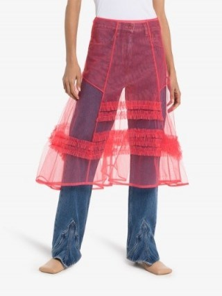 Molly Goddard Frilled A-Line Midi Skirt in Pink | totally sheer skirts - flipped