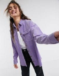 Monki oversized cord shirt with pockets in purple – corduroy shirts