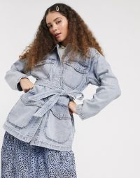 Monki tie waist denim utility jacket in bleach blue