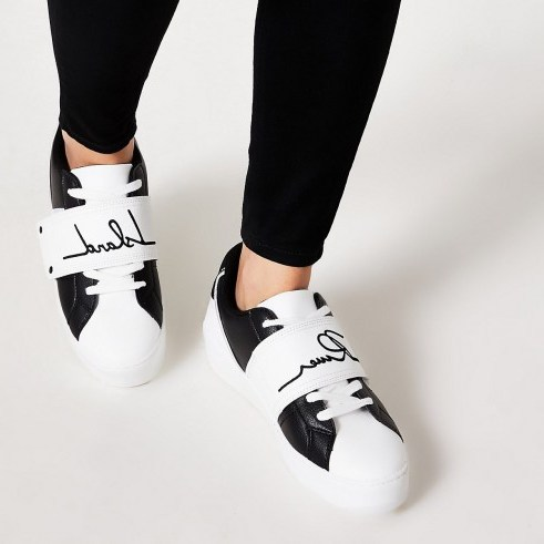 River Island Monochrome blocked 'River' velcro trainers - flipped