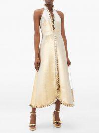 TEMPERLEY LONDON Moon Garden halterneck shot-lamé dress ~ luxe eventwear