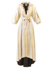 TEMPERLEY LONDON Moon Garden ruffled V-neck lamé coat in gols ~ luxe eveing coats