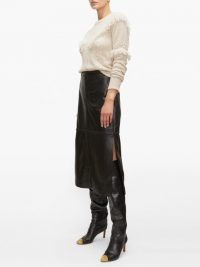 ALTUZARRA Mooney panelled black leather midi skirt