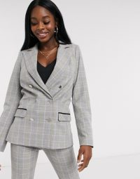 Morgan longline blazer in grey yellow check – lemonade