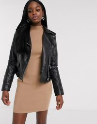 Morgan pu biker jacket in black – zip detail outerwear