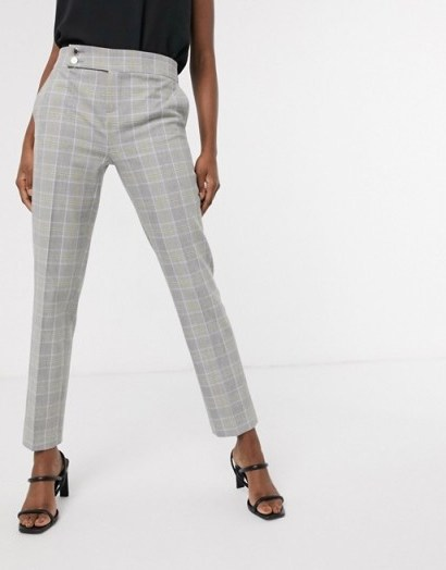 Morgan tailored trouser in grey yellow check – lemonade / checked suit pants - flipped