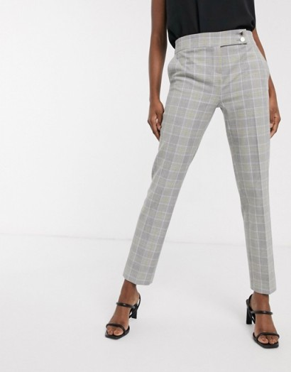 Morgan tailored trouser in grey yellow check – lemonade / checked suit pants
