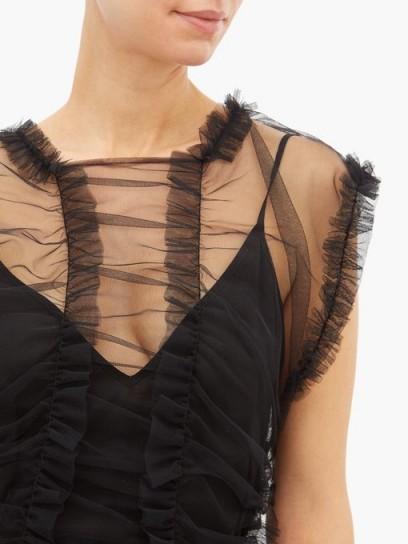 MOLLY GODDARD Moss sheer ruffled tulle dress in black