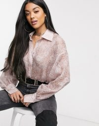NA-KD balloon sleeve structured blouse in dusty pink – floral blouses