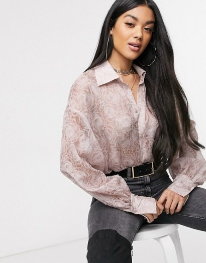 NA-KD balloon sleeve structured blouse in dusty pink – floral blouses - flipped