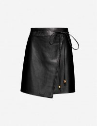NANUSHKA Seyoka wrap-front vegan leather mini skirt in black – asymmetric skirts