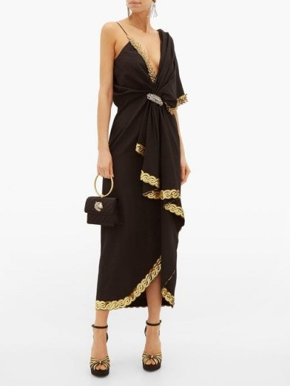 GUCCI Naomi crystal-embellished moire dress in black - flipped