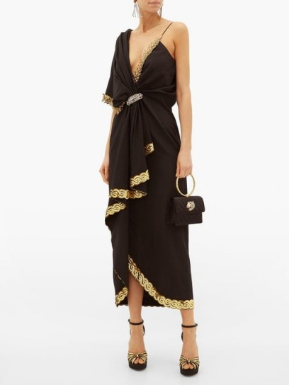 GUCCI Naomi crystal-embellished moire dress in black