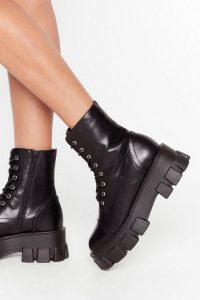 NASTY GAL Admit De-cleat Faux Leather Lace-Up Boots in Black – cleated sole boot