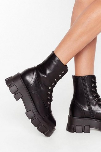 NASTY GAL Admit De-cleat Faux Leather Lace-Up Boots in Black – cleated sole boot - flipped