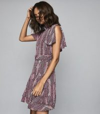 REISS NATALIE PRINTED MINI DRESS BERRY ~ feminine high neck dresses