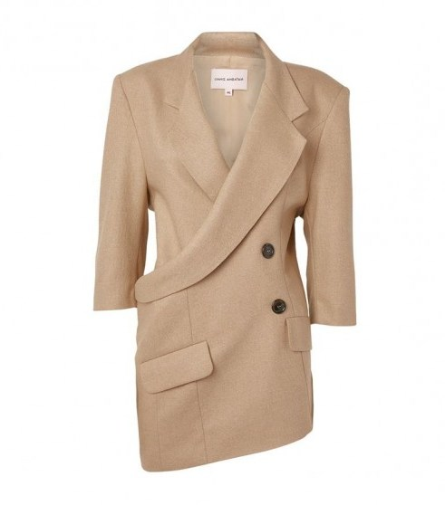 Natasha Zinko Asymmetric Wrap-Around Jacket in beige - flipped