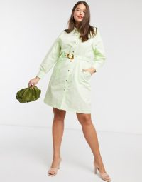 Native Youth Plus belted shirt dress with contrast buttons in mint green