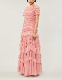 NEEDLE AND THREAD Wild Rose ruffled tulle gown in sun blush