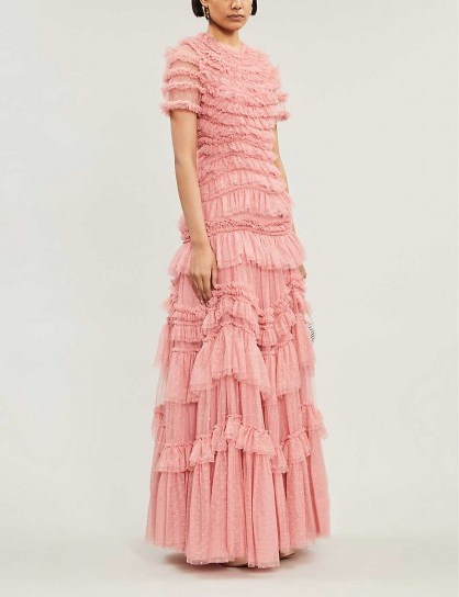 NEEDLE AND THREAD Wild Rose ruffled tulle gown in sun blush - flipped