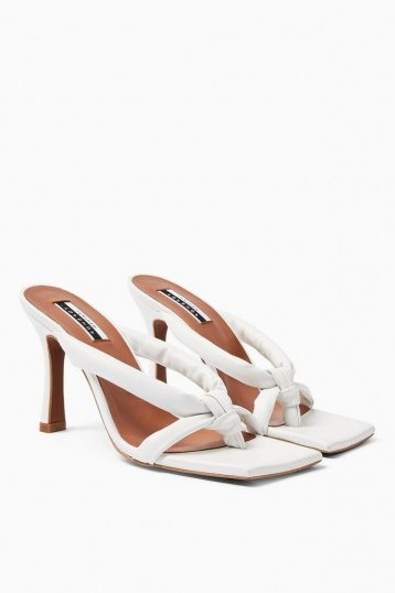 Topshop NEO Leather Knot Mules In White – glamorous evening heels - flipped