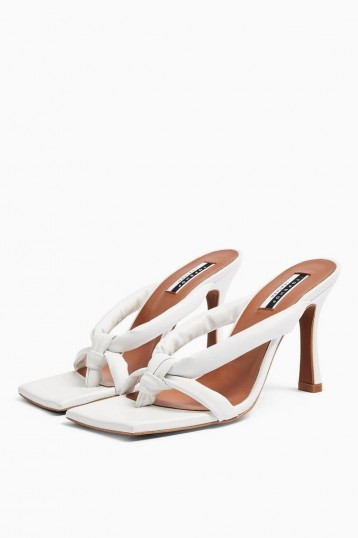 Topshop NEO Leather Knot Mules In White – glamorous evening heels