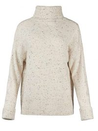 OLIVER BONAS Nepped Ivory High Neck Knitted Jumper | neutral knits