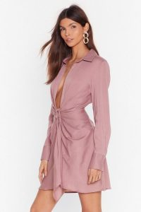 NASTY GAL Never Tied Down Plunging Shirt Dress in rose
